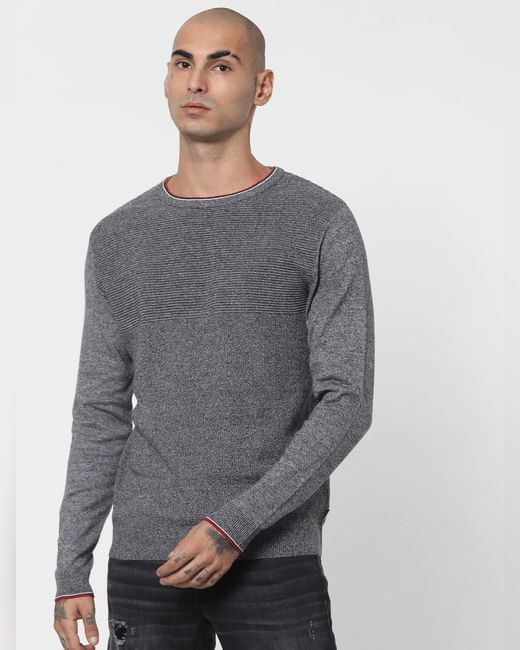 Grey Textured Striped Pullover