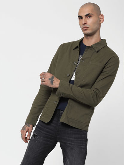 Green Twill Weave Jacket
