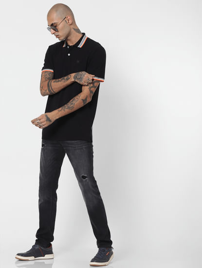 Black Contrast Tipping Polo Neck T-shirt