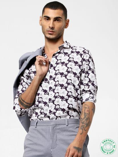Dark Purple Floral Print Full Sleeves Shirt