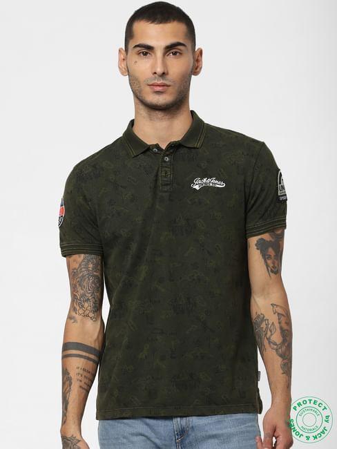 Green Printed Polo Neck T-shirt