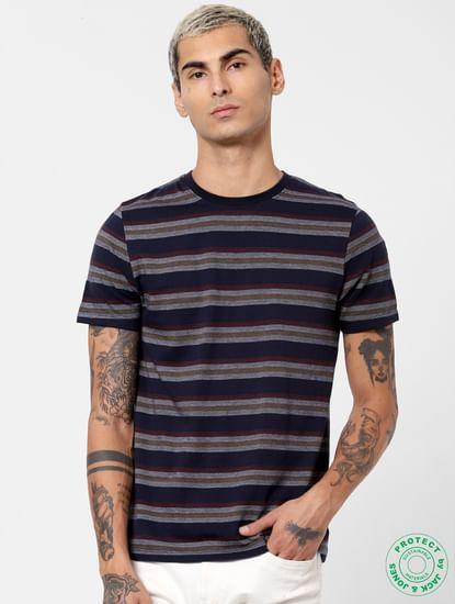 Navy Blue Striped Jacquard T-shirt