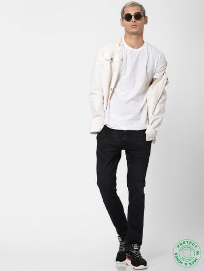 White Textured Crew Neck T-shirt