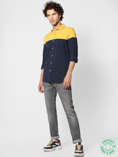 Navy Colourblocked Slim Fit Full Sleeves  Shirt