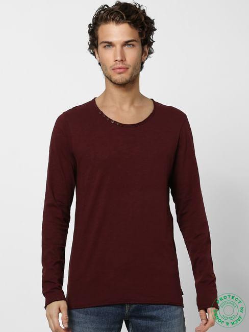 Burgundy Crew Neck Full Sleeves T-shirt
