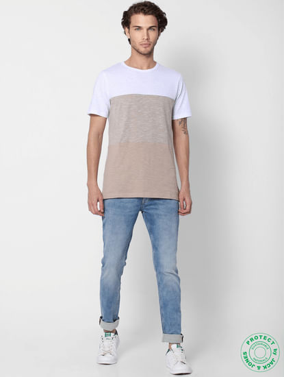 Beige Colourblocked Crew Neck T-shirt