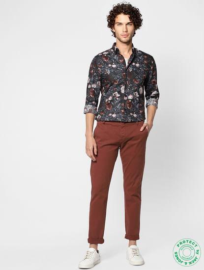 Dark Grey All Over Floral Print Full Sleeves Shirt