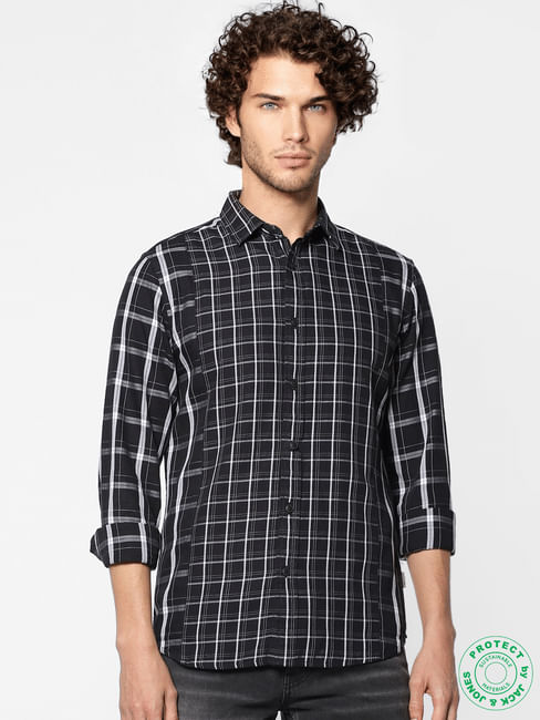 Black Full Sleeves Check Slim Fit Shirt