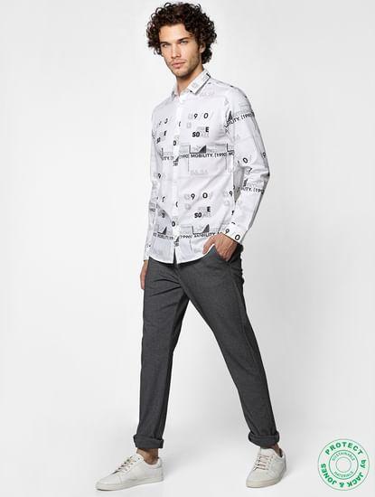 White Full Sleeves All Over Print Slim Fit Shirt
