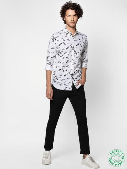 White Full Sleeves All Over Text Print Slim Fit Shirt