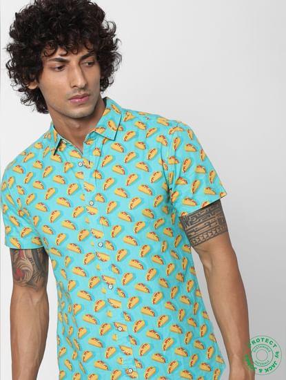 Blue Taco Print Half Sleeves Shirt