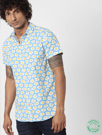 Blue Fried Egg Print Half Sleeves Shirt