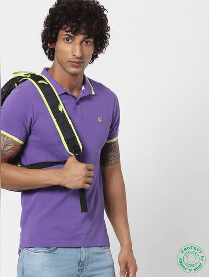 Purple Contrast Tipping Polo Neck T-shirt