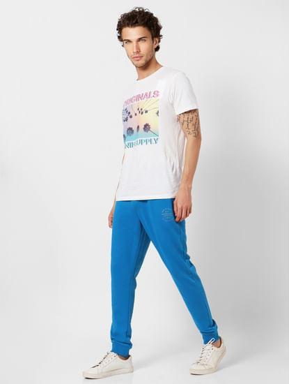 Blue Mid Rise Logo Print Sweatpants