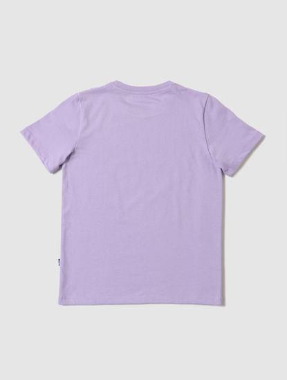 Boys Purple Logo Print Crew Neck T-shirt