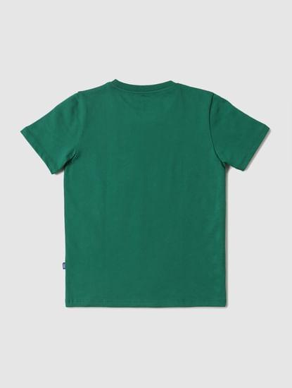 Boys Green Logo Print Crew Neck T-shirt