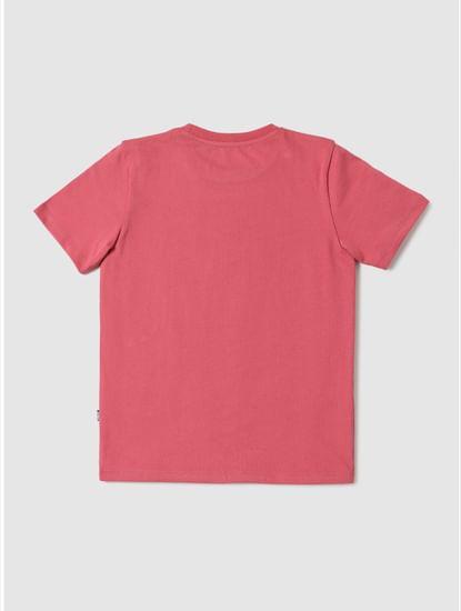 Boys Pink Logo Print Crew Neck T-shirt