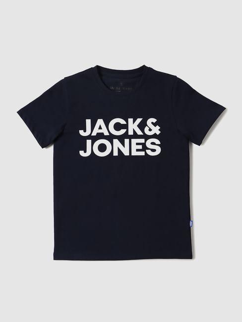 Boys Blue Logo Print Crew Neck T-shirt
