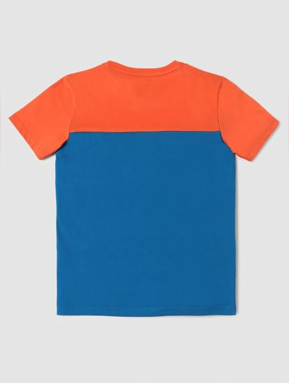 Boys Orange Slogan Print Crew Neck T-shirt