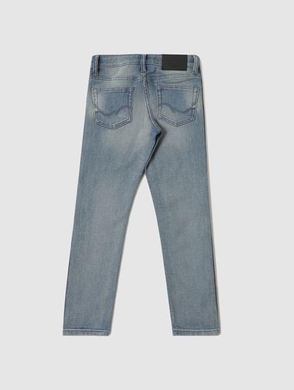 Boys Blue Mid Rise Tape Detail Slim Fit Jeans