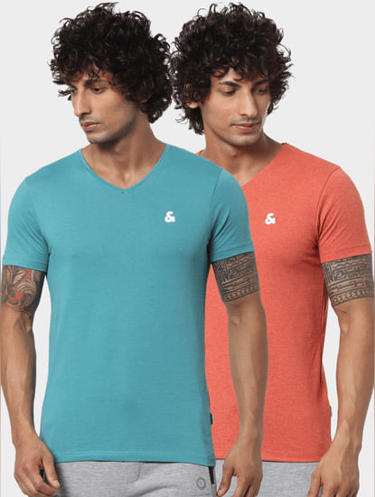 Coral & Blue V Neck Tshirts - Pack of 2
