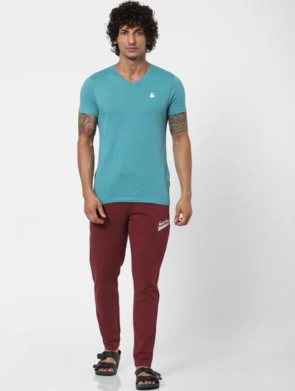 Maroon Mid Rise Logo Print Sweatpants