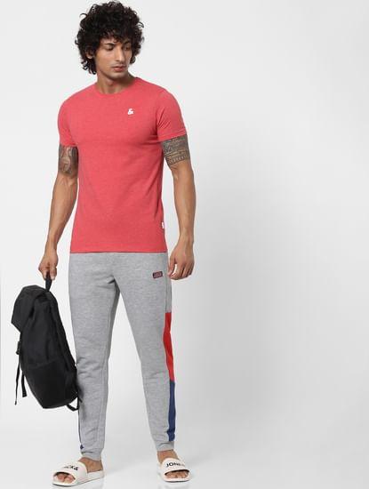 Grey Mid Rise Colourblocked Sweatpants