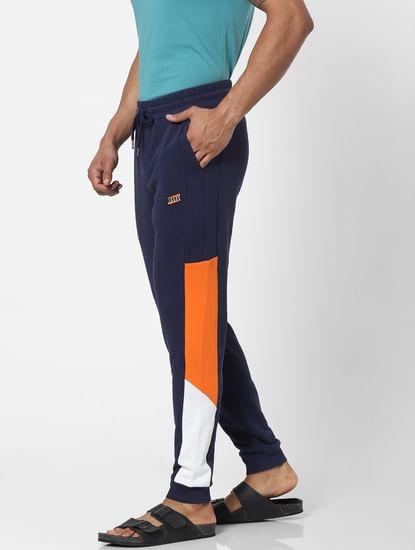 Blue Mid Rise Colourblocked Sweatpants