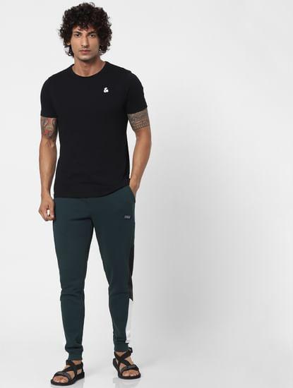 Green Mid Rise Colourblocked Sweatpants
