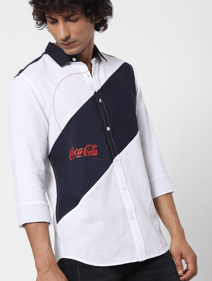 JACK&JONES | COCA COLA White Printed Full Sleeves Shirt