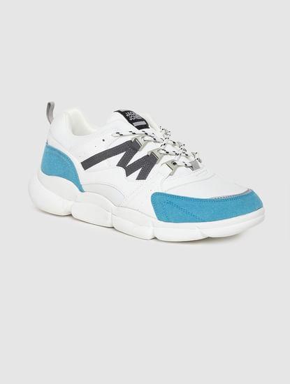 White Colourblocked Sneakers