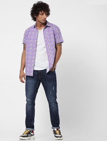 Purple Pizza Slice Print Half Sleeves Shirt