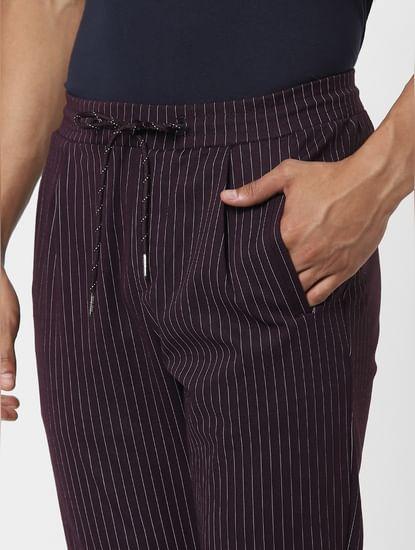 Purple Mid Rise Striped Pants