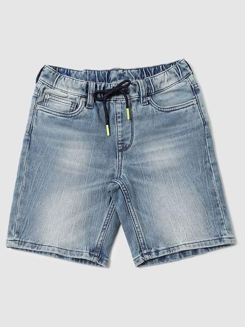 Boys Blue Mid Rise Denim Shorts