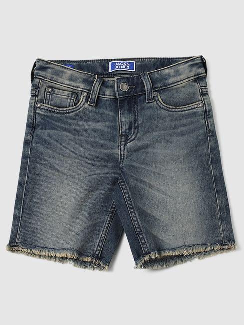 Boys Dark Blue Mid Rise Denim Shorts