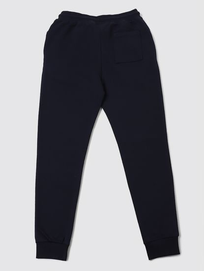 Boys Blue Low Rise Logo Print Sweatpants