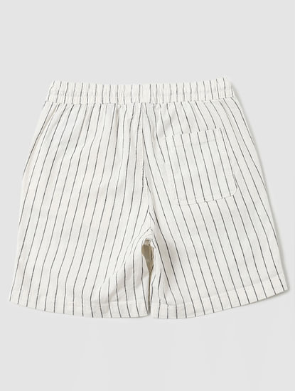 Boys White Mid Rise Striped Shorts