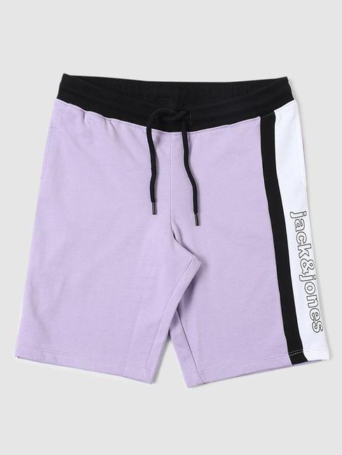 Boys Purple Colourblocked Shorts