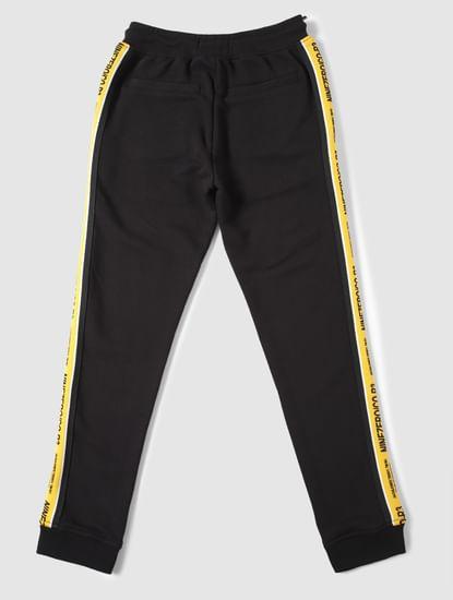 Boys Black Mid Rise Tape Detail Sweatpants