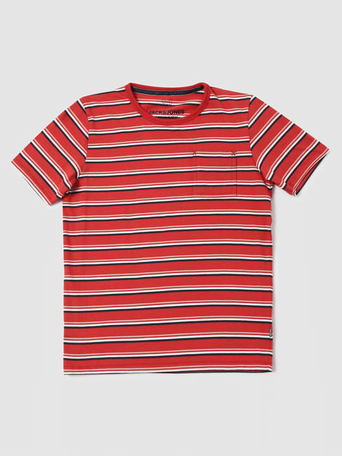 Boys Red Striped Crew Neck T-shirt