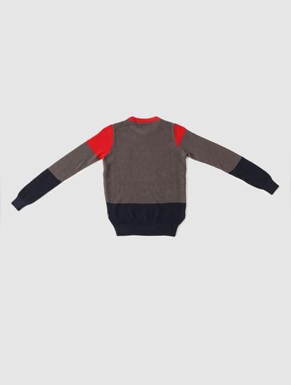 Boys Red Colourblocked Knit Pullover
