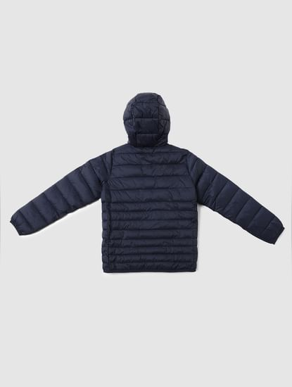 Boys Dark Blue Hooded Puffer Jacket