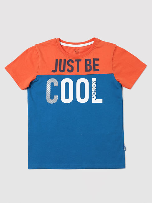 Boys Orange Slogan Print T-shirt