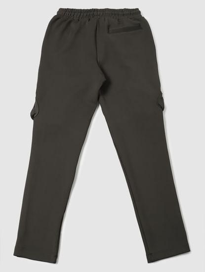 Boys Olive Green Mid Rise Sweatpants