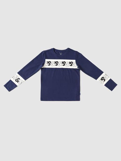 Boys Blue Logo Print Full Sleeves T-shirt