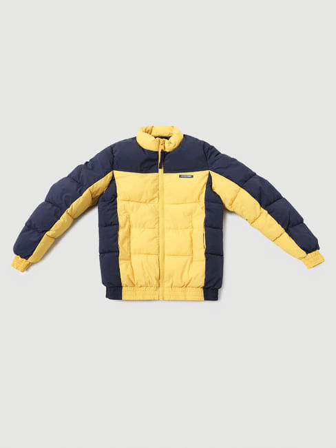 Boys Yellow Colourblocked Puffer Jacket