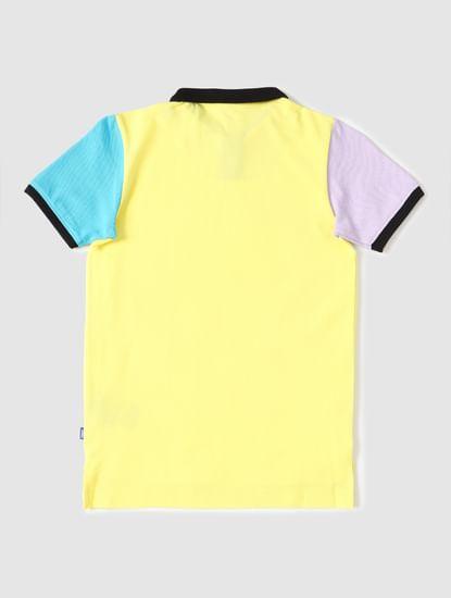 Boys Yellow Colourblocked Sleeves Polo T-shirt