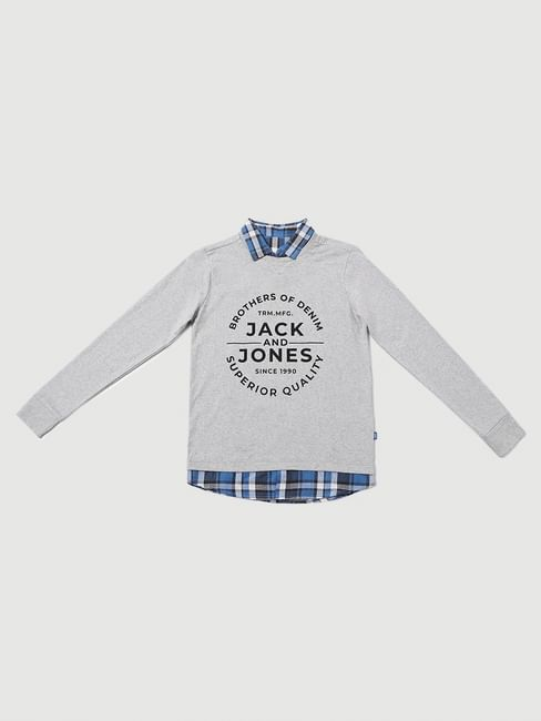 Boys Grey Logo Print Full Sleeves Polo T-shirt