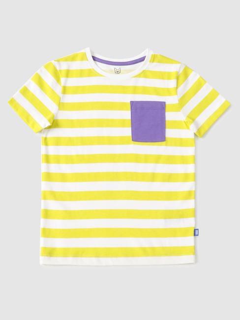 Boys Yellow Striped Crew Neck T-shirt
