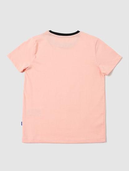 Boys Pink Crew Neck T-shirt